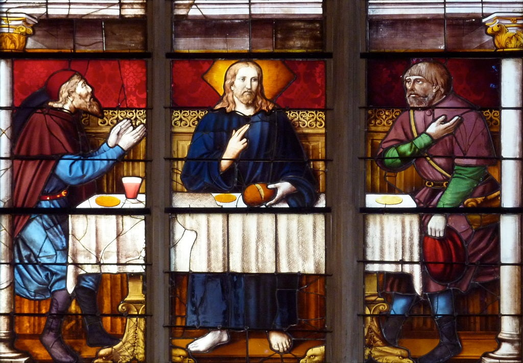 Emmaus pilgrims, stained glass window, Church of Brou, France