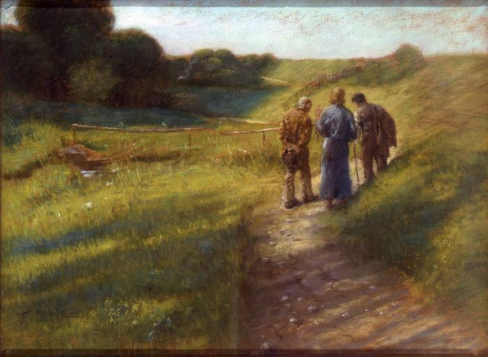 Fritz von Uhde painting of walk to emmaus, 1891